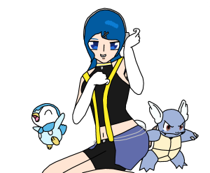 Arin With Wartortle And Piplup